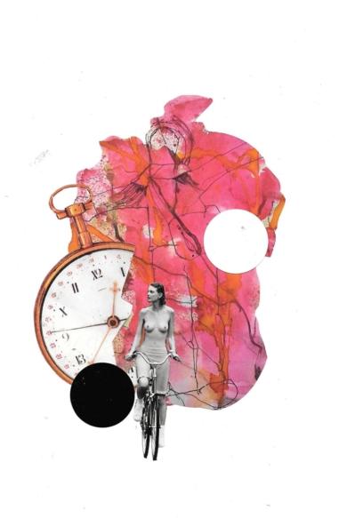 Collage simbólico y conceptual sobre la lucha contrarreloj con el cáncer de mama.|CollagedeRAQUEL SANTAMARIA| Compra arte en Flecha.es