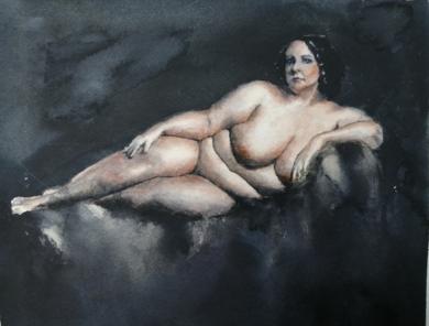 Mujer tumbada|PinturadeLuis Imedio| Compra arte en Flecha.es