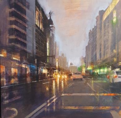 Gran Vía nocturna|PinturadeCristina Bergoglio| Compra arte en Flecha.es