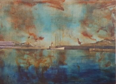 Puerto de ibiza en otoño|PinturadeMiguel Ángel García López| Compra arte en Flecha.es