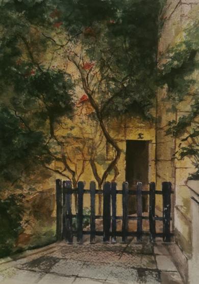Entrada con verja|PinturadeCarmen Nieto| Compra arte en Flecha.es