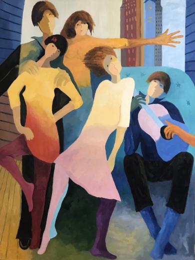 Composición de jóvenes bailando. PinturadeJenifer Carey  Compra arte en Flecha.es