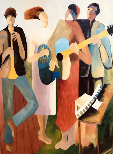 Composición de jóvenes VIII. PinturadeJenifer Carey  Compra arte en Flecha.es