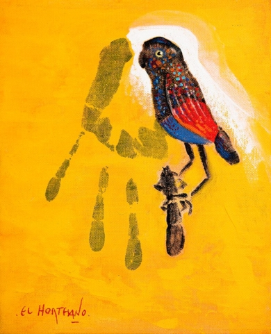 El Pájaro en mi Rama (Humano-102)|PinturadeEl Hortelano| Compra arte en Flecha.es
