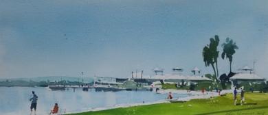Paseo por el Embarcadero PinturadeIñigo Lizarraga  Compra arte en Flecha.es