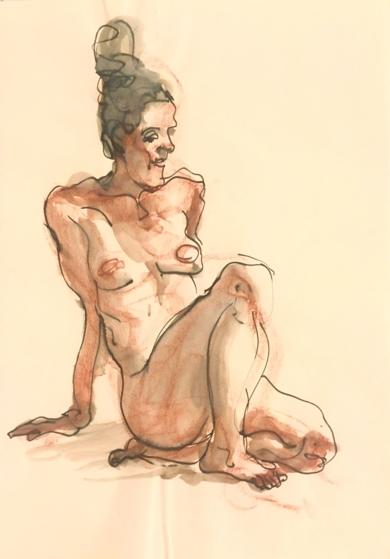 Desnudo con Moño|DibujodeJaelius Aguirre| Compra arte en Flecha.es