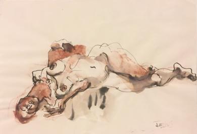 Desnudo en el Suelo|DibujodeJaelius Aguirre| Compra arte en Flecha.es