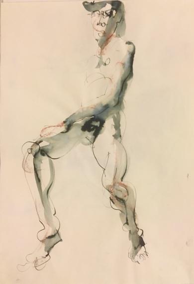 Desnudo en Hache|DibujodeJaelius Aguirre| Compra arte en Flecha.es