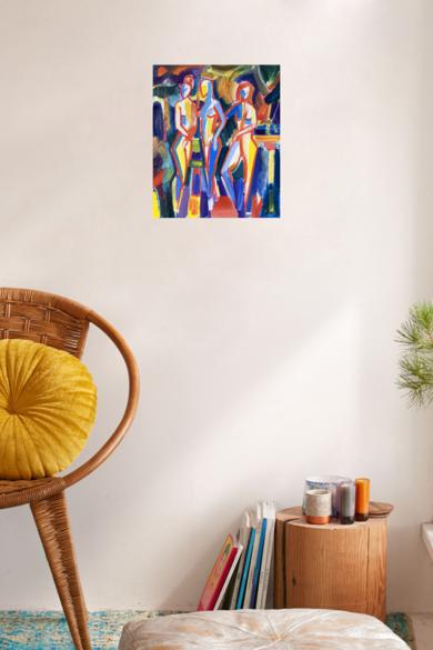 Tres chicas. Desnudo en el jardin|PinturadeMaciej Cieśla| Compra arte en Flecha.es