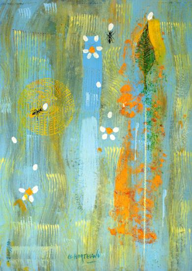 Hoja y Hormigas Besando Pétalos|PinturadeEl Hortelano| Compra arte en Flecha.es