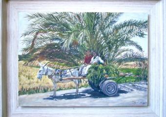 El Carrito.  Serie Burritos Egipcios.|PinturadeJaelius Aguirre| Compra arte en Flecha.es