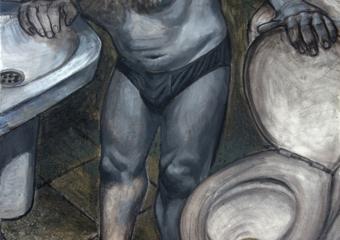 Autorretrato en el váter|DibujodeFernando Charro| Compra arte en Flecha.es