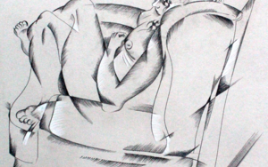 mujer escuchando música|DibujodeMiguel Mansanet| Compra arte en Flecha.es