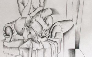 mujer preocupada|DibujodeMiguel Mansanet| Compra arte en Flecha.es