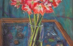 Flores Rojas en la Mesa de Cristal|DibujodeJaelius Aguirre| Compra arte en Flecha.es