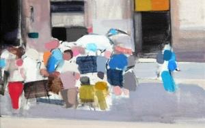 Gente en el Born|PinturadeSaracho| Compra arte en Flecha.es