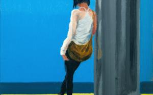Apoyada en la columna|PinturadeOrrite| Compra arte en Flecha.es
