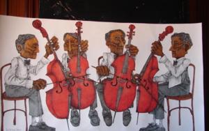 4 Chelistas|Dibujodede la Concepción Torreira| Compra arte en Flecha.es