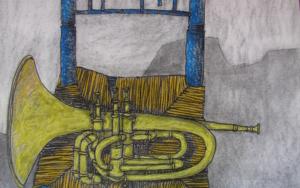Silla con trompeta de tres pistones|Dibujodede la Concepción Torreira| Compra arte en Flecha.es