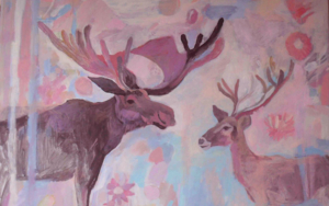El  alce y el reno|IlustracióndeIria| Compra arte en Flecha.es