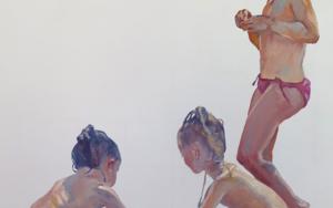 Tres niñas en la playa|PinturadeJESÚS MANUEL MORENO| Compra arte en Flecha.es