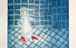 Los zapatos de siete leguas|Obra gráficadeAna Valenciano| Compra arte en Flecha.es