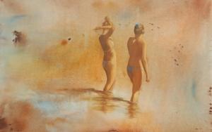 Chicas en la playa|PinturadeMiguel Ángel García López| Compra arte en Flecha.es