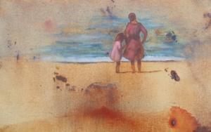 Mama y niña en la playa|PinturadeMiguel Ángel García López| Compra arte en Flecha.es