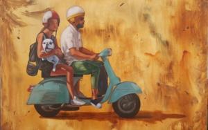 Paseo en moto en Ibiza|PinturadeMiguel Ángel García López| Compra arte en Flecha.es