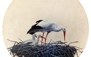 Cigüeñas redondo pequeño 8|PinturadeCharlotte Adde| Compra arte en Flecha.es