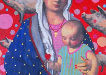 Virgen Guapa de los cerditos, que también tienen corazón|PinturadePaco Sánchez| Compra arte en Flecha.es