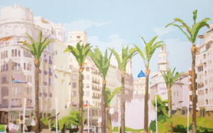Ocho palmeras|PinturadeJavier AOIZ ORDUNA| Compra arte en Flecha.es