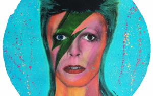 David Bowie (Red-Orange Fluorescent)|PinturadeSilvio Alino| Compra arte en Flecha.es