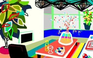 El salón viviente|DibujodeALEJOS| Compra arte en Flecha.es