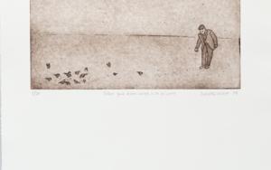 Señor que echa migas a los pájaros|Obra gráficadeAna Valenciano| Compra arte en Flecha.es