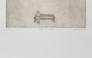 Señora en un banco|Obra gráficadeAna Valenciano| Compra arte en Flecha.es