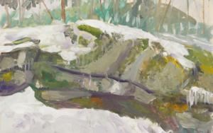 Gestual, blanco  y gris: nieve en Boca del Asno.|PinturadeIgnacio Mateos| Compra arte en Flecha.es