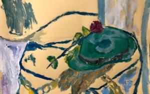 BODEGÓN CON SOMBRERO Y ROSA|PinturadeIraide Garitaonandia| Compra arte en Flecha.es