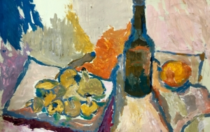 BODEGÓN CON BOTELLA|PinturadeIraide Garitaonandia| Compra arte en Flecha.es