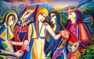 Chica, espíritus de la naturaleza, montañas. Expresionismo 2019|PinturadeMaciej Cieśla| Compra arte en Flecha.es