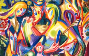 Danza de los fantasmas del bosque. Expresión, color, luz.|PinturadeMaciej Cieśla| Compra arte en Flecha.es