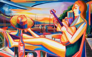 chica con guitarra, costa del mar 08 2019 expresionismo|PinturadeMaciej Cieśla| Compra arte en Flecha.es