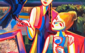 Dos chicas y un cuervo|PinturadeMaciej Cieśla| Compra arte en Flecha.es