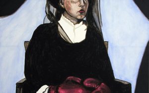Mujer con guantes|PinturadeSilvia Viana| Compra arte en Flecha.es
