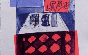 Bodegón rojo y azul|Obra gráficadeAna Valenciano| Compra arte en Flecha.es