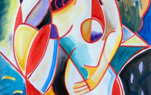 Chica, formas abstractas|PinturadeMaciej Cieśla| Compra arte en Flecha.es