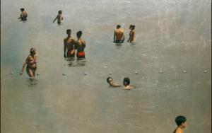 Grupo de bañistas cuadrado|DibujodeEnrique González| Compra arte en Flecha.es
