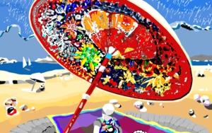 Bajo su sombrilla, sobre una alfombra mágica voladora Obra gráficadeALEJOS  Compra arte en Flecha.es