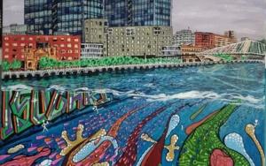 Torres Isozaki y lo que hay bajo la ría|PinturadeJorge perez| Compra arte en Flecha.es