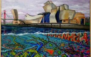 Guggenheim y las profundidades de la ría|PinturadeJorge perez| Compra arte en Flecha.es